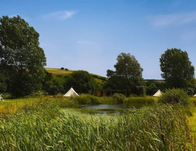 Pond and bell tents